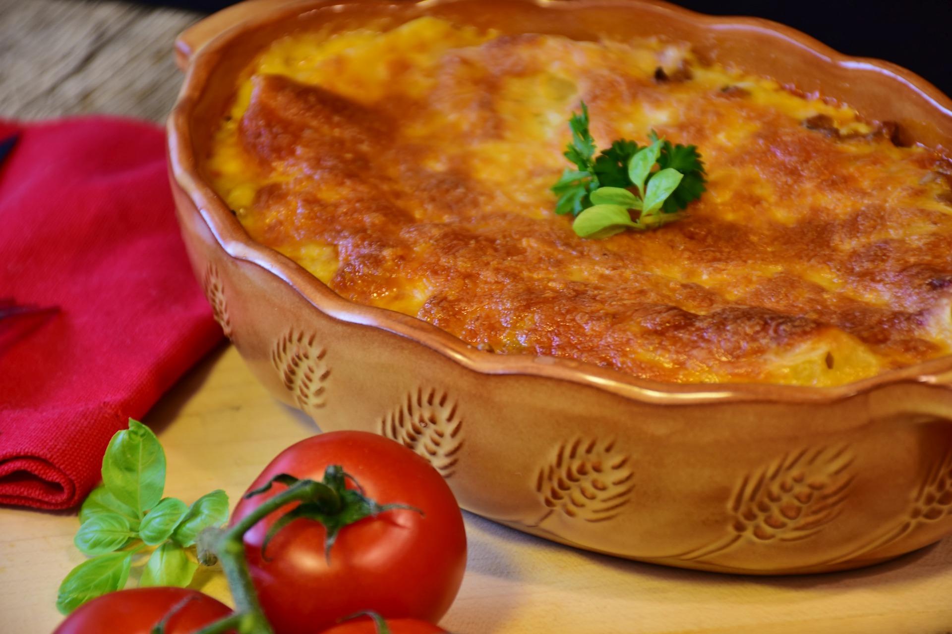 Kürbis-Lasagne mit Tomaten